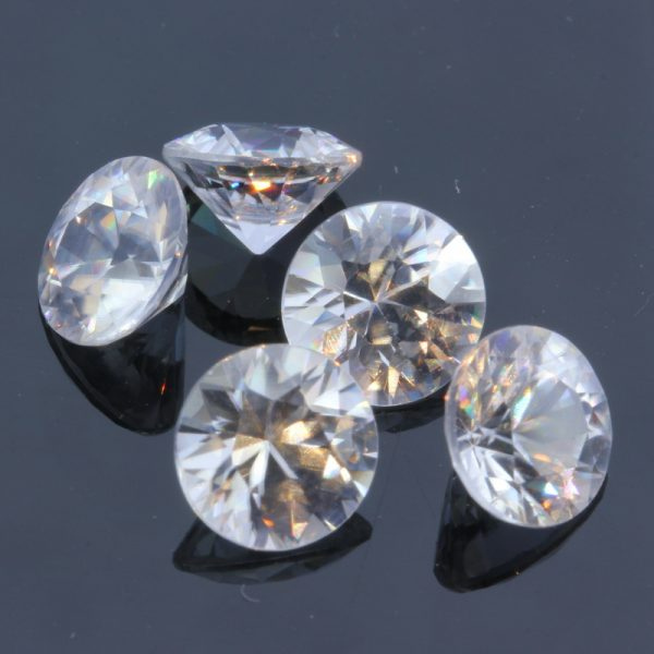 One White Zircon Diamond Cut 6.5 mm Round Natural Gemstone Averages 1.53 carat