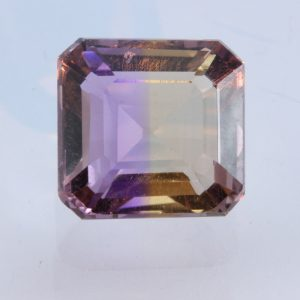 Bolivian Ametrine Yellow Purple Quartz Faceted 11 mm Octagon Square 6.16 carat