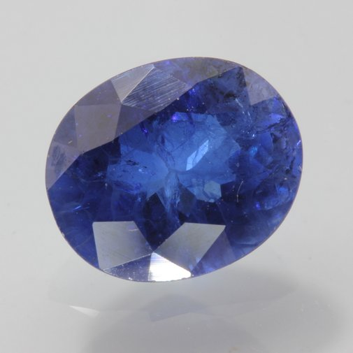 Blue Sapphire Lab Created Flame Fus Synthetic Faceted Oval Corundum 3.87 carat