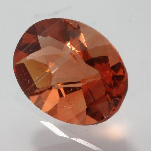 Orange Pink Sparkling Andesine Oval Faceted 8 x 6 mm Gem 1.07 carat