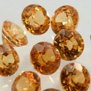 One Fanta Orange Spessartite Garnet Faceted 3.5 mm Round Gem Averages .25 carat