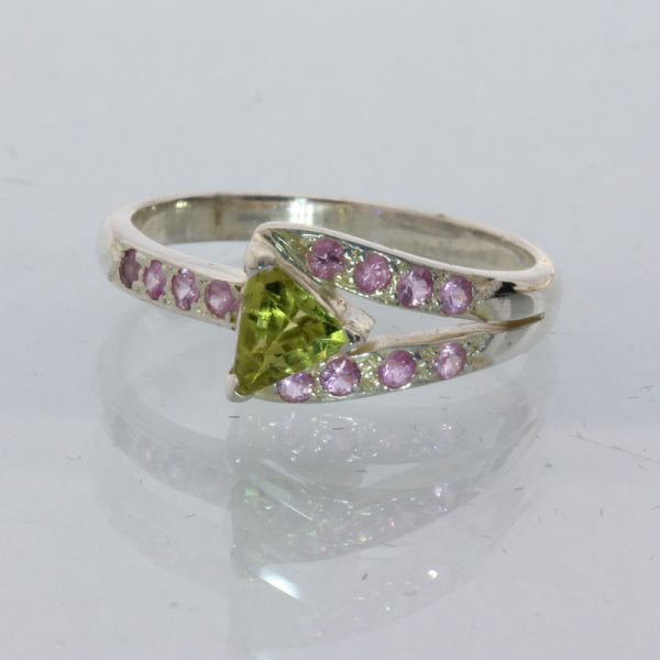 Yellow Green Mali Garnet Pink Sapphire Handmade 925 Silver Ladies Ring size 6.5
