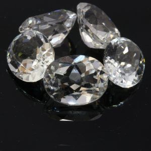 One White Topaz Faceted 9x7 mm Round Colorless Gemstone Averages 2.25 carat