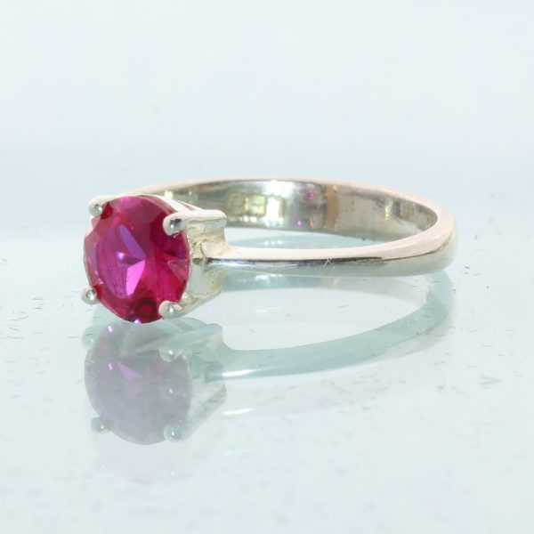 Lab Created Red Ruby Solitaire Handtooled Silver Engagement Style Ring size 6.75
