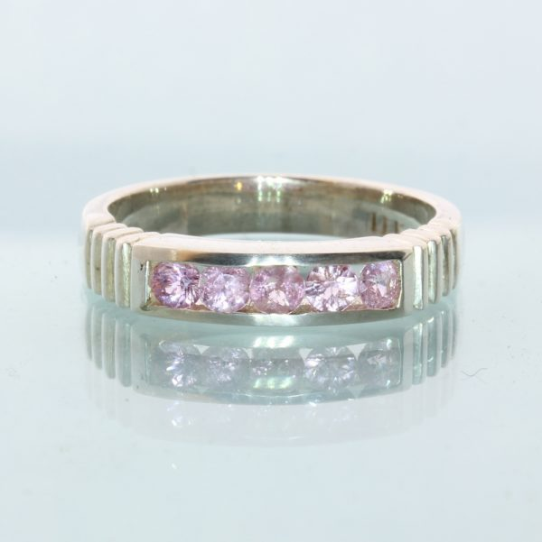 Five Pink Sapphires Handmade Sterling Silver Unisex Channel Set Ring size 6.75