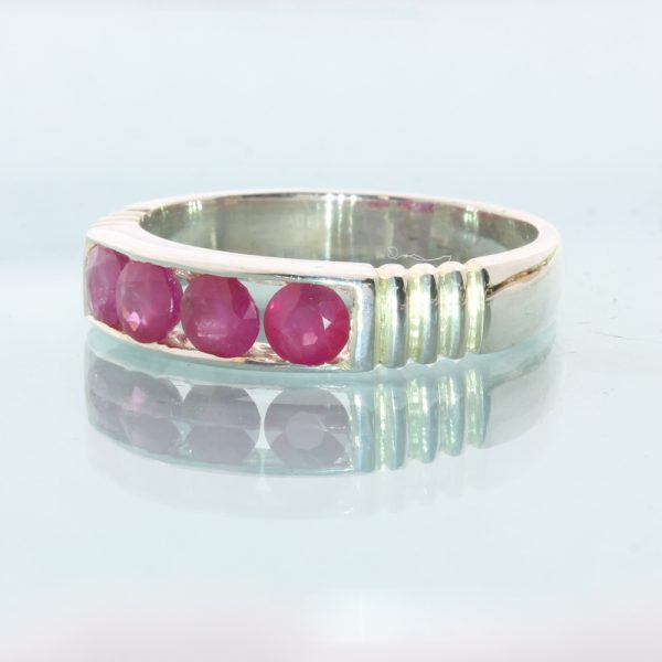 Cambodian Pink Red Ruby Handtooled 925 Silver Channel Set Unisex Ring size 9.75
