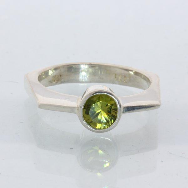 Yellow Green Peridot Solitaire Handmade Silver Unisex Geometrical Ring size 6.75