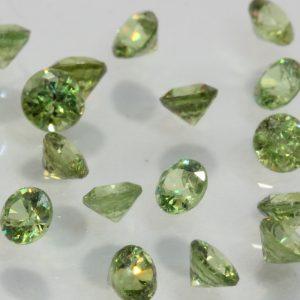 One Mint Green Demantoid Garnet Accent Faceted Round 3 mm Average .12 carat
