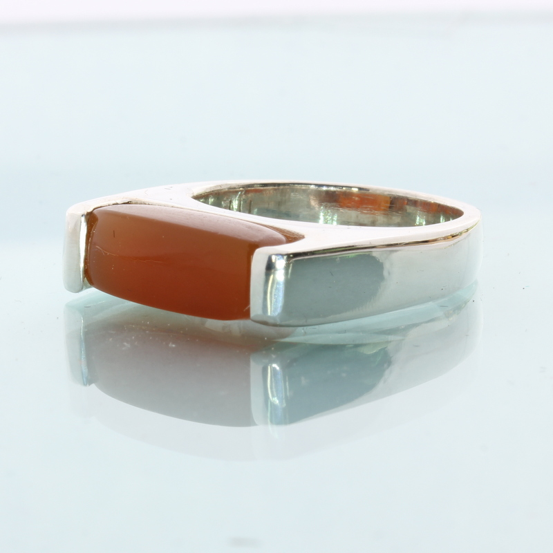 Orange Carnelian Gemstone Solitaire Handtooled 925 Silver Unisex Ring size 6.75