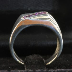Grape Purple Amethyst Handcrafted Silver Unisex Diagonal Channel Ring size 8.25
