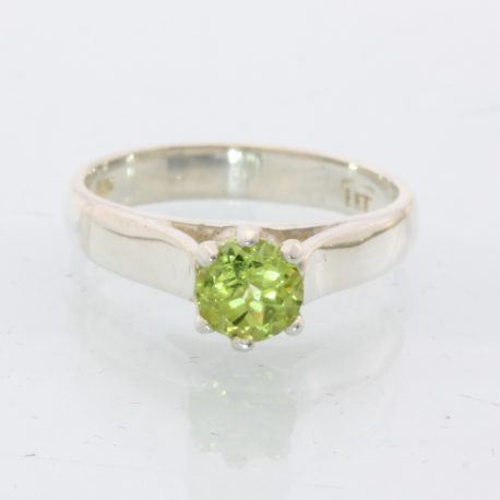 Yellow Green Peridot Solitaire Handmade Silver Ladies Engagement Ring size 8.5