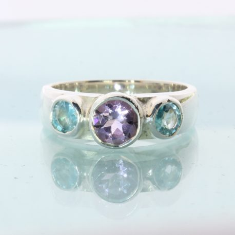 Purple Amethyst Sky Blue Zircon Hand Crafted Silver Three Stone Ring size 7.75