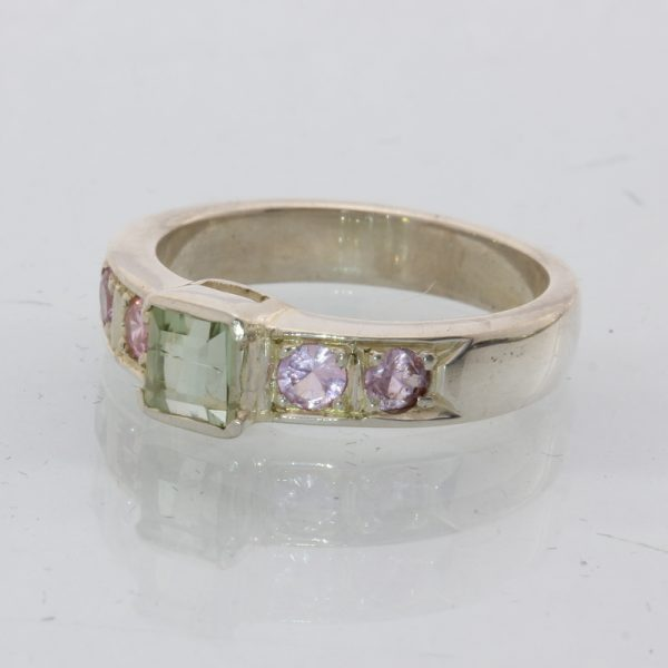 Natural Green and Pink Tourmaline Handmade Sterling Silver Ladies Ring size 7.5