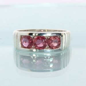 Cambodian Red Ruby Hand Tooled Sterling Silver Channel Set Unisex Ring size 8.5