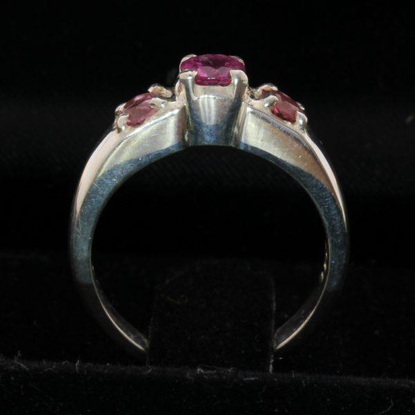 Rhodolite Garnet and Pink Tourmaline Handmade Sterling Silver Ladies Ring size 6