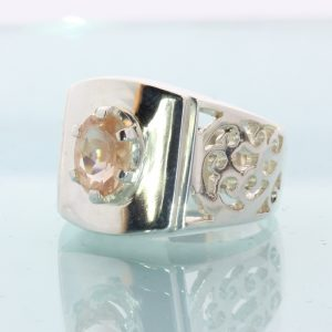 Oregon Copper Bearing Sunstone Handtooled 925 Silver Ajoure Gents Ring size 7.75