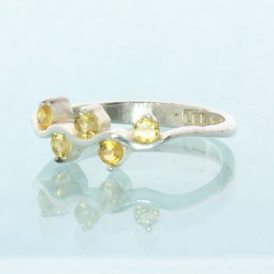 Five Yellow Citrine Gemstones Handcrafted Sterling Silver Ladies Ring size 7.5