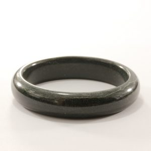 56.4 mm Jet Black Nephrite Jade Untreated Stone Bangle Bracelet 7 inch