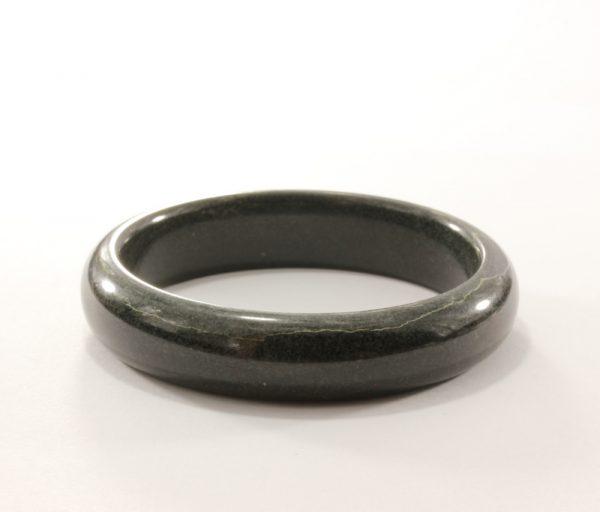 56.4 mm Jet Black Nephrite Jade Untreated Stone Bangle Bracelet 7 inch