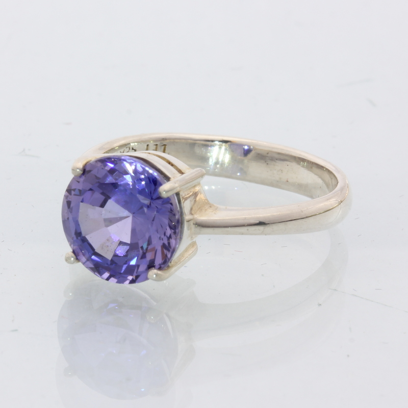 Lab Blue Sapphire Solitaire Gemstone Handmade Sterling Silver Ladies Ring size 9