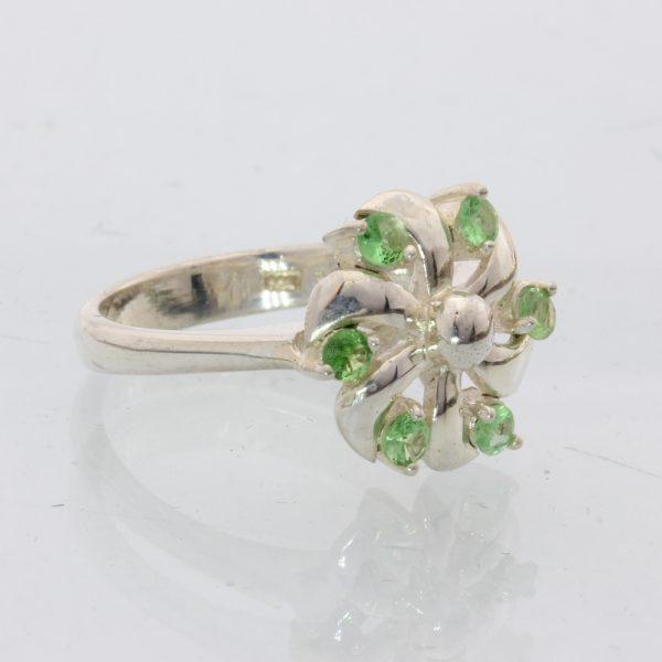 Green Tsavorite Garnet Handmade Sterling Silver Ladies Pinwheel Ring size 7.25