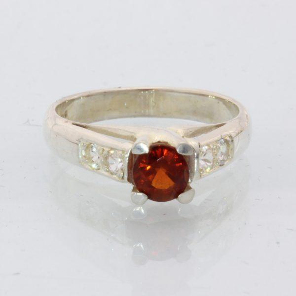 Red Spessartine Garnet White Sapphire Handmade 925 Silver Ladies Ring size 7.25