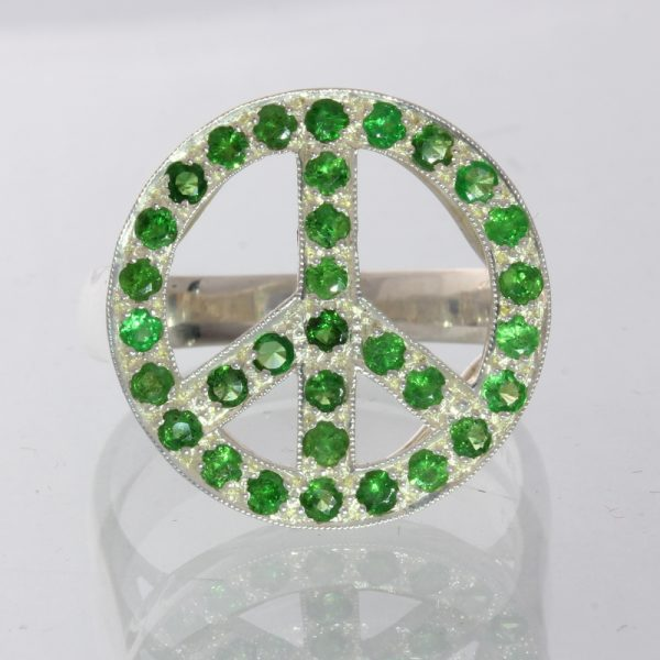 Green Tsavorite Garnet Peace Sign Handmade 925 Unisex Filigree Ring size 10.25