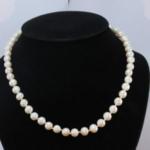Princess 18.5 Inch Pearl Necklace Cream White Freshwater 8mm Knotted Silver Hook