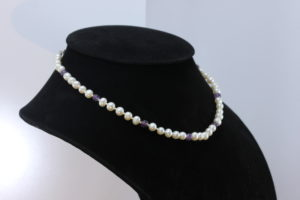 5.5 mm White Pearl and Purple Amethyst Necklace 16 Inch Knotted Silk Silver Hook
