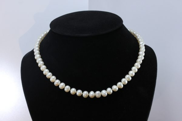 Pearl Necklace 17 Inch White Freshwater 8mm Buttons Knotted Silk 925 Silver Hook