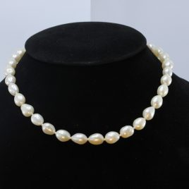 17 Inch Pearl Necklace White Freshwater 13x9 mm Ovals Knotted Silk Silver Hook