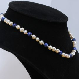 15.5 Inch Choker Necklace 6 mm White Pearl Blue Lapis Knotted Silk Silver Hook