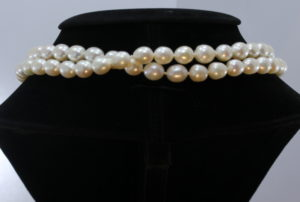 Pearl Necklace 32 Inch Endless Bright Cream White 9x10mm Ovals Knotted Real Silk