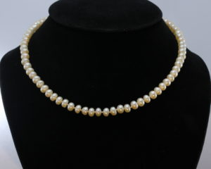 Pearl Choker Necklace 16.5 Inch Cream Freshwater 7 mm Buttons Knotted Real Silk