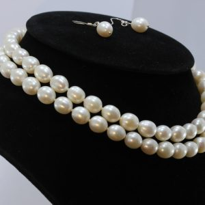 29 Inch White Pearl Endless Necklace 9x10mm Knotted Real Silk Matching Earrings