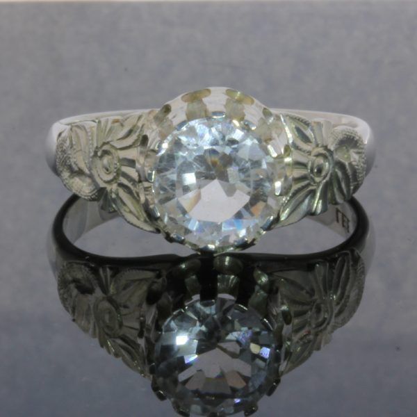 White Topaz Flower of Angels Style Handmade Sterling Silver Ladies Ring size 9