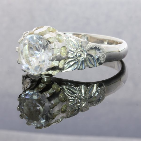 Sparkling White Topaz Handcrafted 925 Silver Ladies Ajoure Filigree Ring size 9