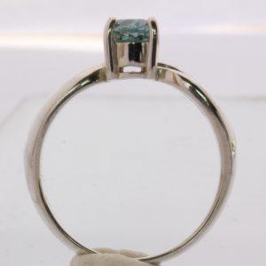 Windex Blue Zircon Solitaire Handmade 925 Silver Ladies Ajoure Ring size 6.75
