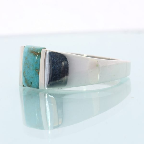 American Turquoise Faceted Square Handmade Sterling Silver Ladies Ring size 9.5