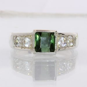 Green Tourmaline and White Zircon Handmade Sterling Silver Ladies Ring size 8.75