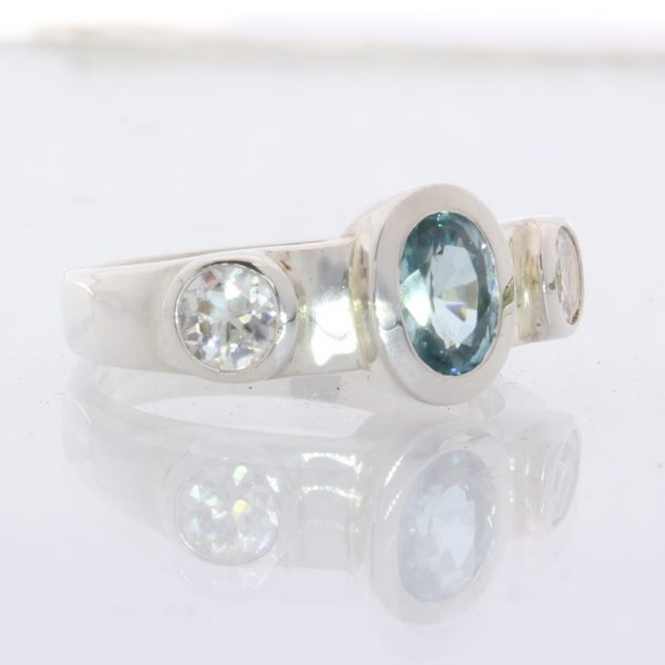 Blue Zircon and White Zircon Handtooled Sterling Silver Ladies Ring size 7.75