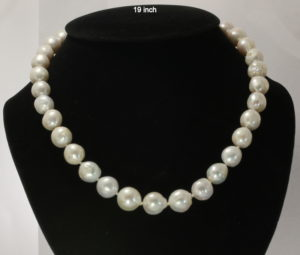 Pearl Necklace 19 Inch White Near Round Baroque 12 mm Knotted Silk Silver Hook