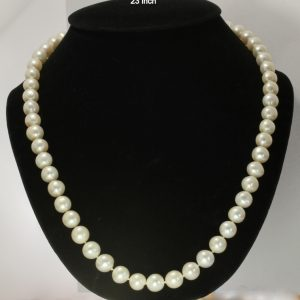 Pearl Necklace 23 Inch Shine White Round Baroque 10.5mm Knotted Silk Silver Hook