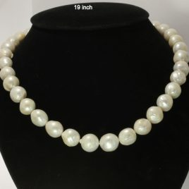 Pearl Necklace 19Inch White Rough Round Baroque 11-13mm Knotted Silk Silver Hook