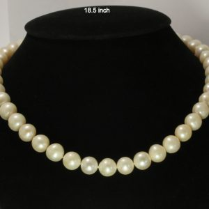 Pearl Necklace 18.5 Inch White Shiny Baroque 10-11.5 mm Knotted Silk Silver Hook