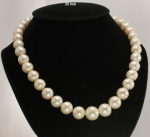 Akoya Saltwater White Round Pearl Graduated 20 Inch Necklace Silk Silver Hook