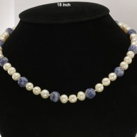 White Round Pearl Lapis Lazuli Necklace 18 Inch Knotted Silk Silver Hook