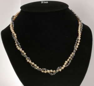 Double Strand Black Pink Round Pearl Necklace 20 Inch Knotted Silk Silver Hook