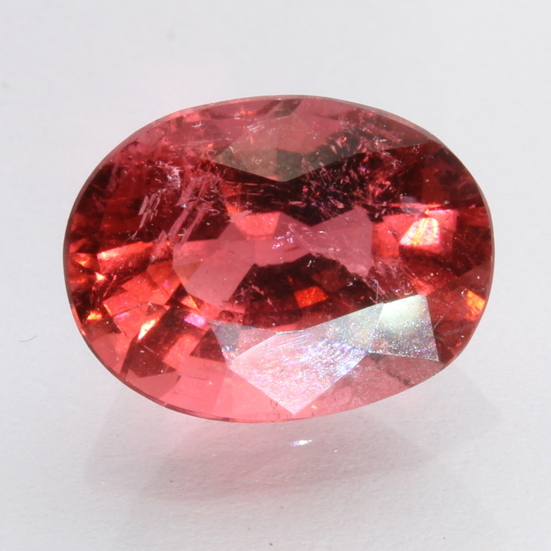 rubellite pinkish orange red tourmaline faceted oval