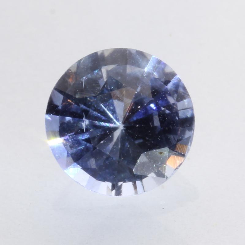 Ceylon Blue Gray Sapphire 6.4 mm Round Diamond Cut Heat Only Gemstone 1.55 carat
